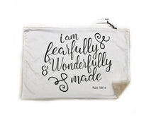 "Load image into Gallery viewer, ""I am Fearfully and Wonderfully Made"" Minky Blanket - Large Lovey Size"