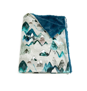 "Blue ""Call of the Mountains"" Minky Blanket - Baby Blanket Size"