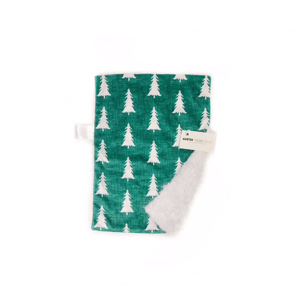 Evergreen Linen Trees Minky Blanket - Small Lovey Size