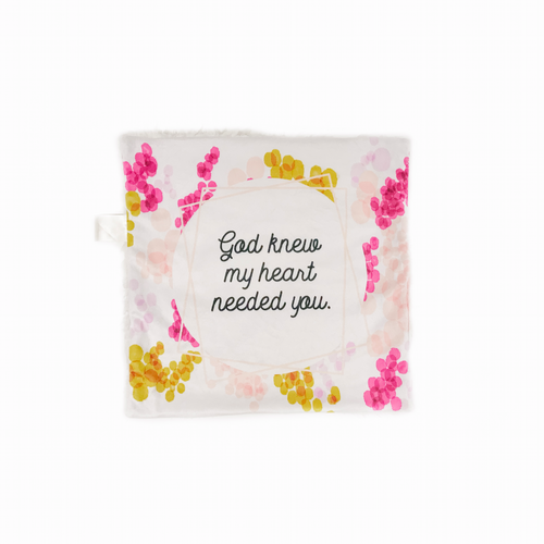 "Pink and Cream ""God Knew My Heart Needed You"" Minky Blanket - Small Lovey Size"