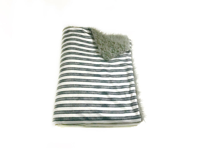 Blue/Grey Striped Minky Blanket - Baby Blanket Size