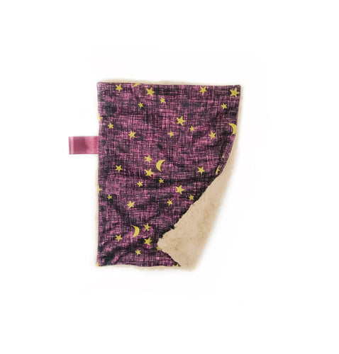 Purple Linen Stars Minky Blanket - Small Lovey Size