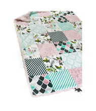 Load image into Gallery viewer, Dusty Rose Pink Mermaid and Floral Faux Quilt Minky Blanket - Baby Blanket Size
