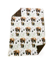 Load image into Gallery viewer, Mama Bear and Cub Watercolour Minky Blanket - Baby Blanket Size