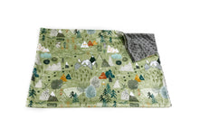 "Load image into Gallery viewer, Olive ""Max's Map"" Mountains Minky Blanket - Baby Blanket Size"