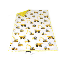 Load image into Gallery viewer, White and Yellow Construction Trucks Minky Blanket - Baby Blanket Size