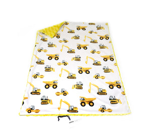 White and Yellow Construction Trucks Minky Blanket - Baby Blanket Size