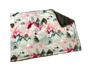 SALE- Pink Mountains Minky Blanket - Large Lovey Size