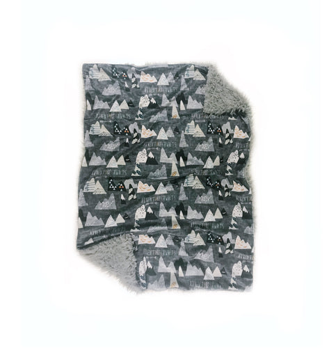 "Charcoal Grey ""Adventure Awaits"" Mountains Minky Blanket - Baby Blanket Size"
