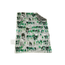"Load image into Gallery viewer, SALE - Green and Grey ""Wintery Woods"" Minky Blanket - Small Lovey Size"