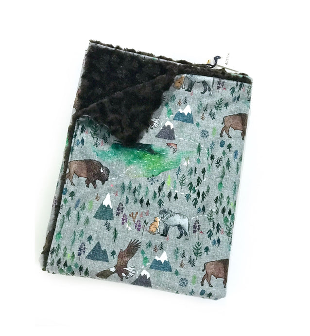 Great North Woodland Mountain Minky Blanket - Child Blanket Size
