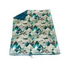 "Load image into Gallery viewer, Blue ""Call of the Mountains"" Minky Blanket - Baby Blanket Size"