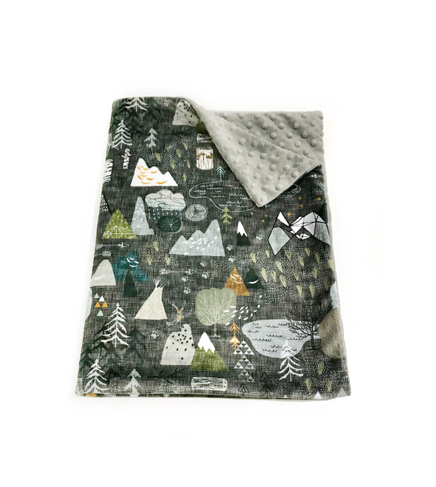 "Charcoal ""Max's Map"" Mountains Minky Blanket - Baby Blanket Size"