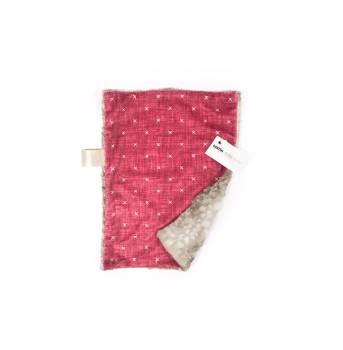 "Red Linen ""X"" Minky Blanket - Small Lovey Size"
