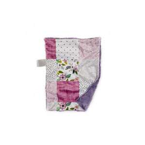 Purple Floral and Linen Faux Quilt Minky Blanket - Small Lovey Size