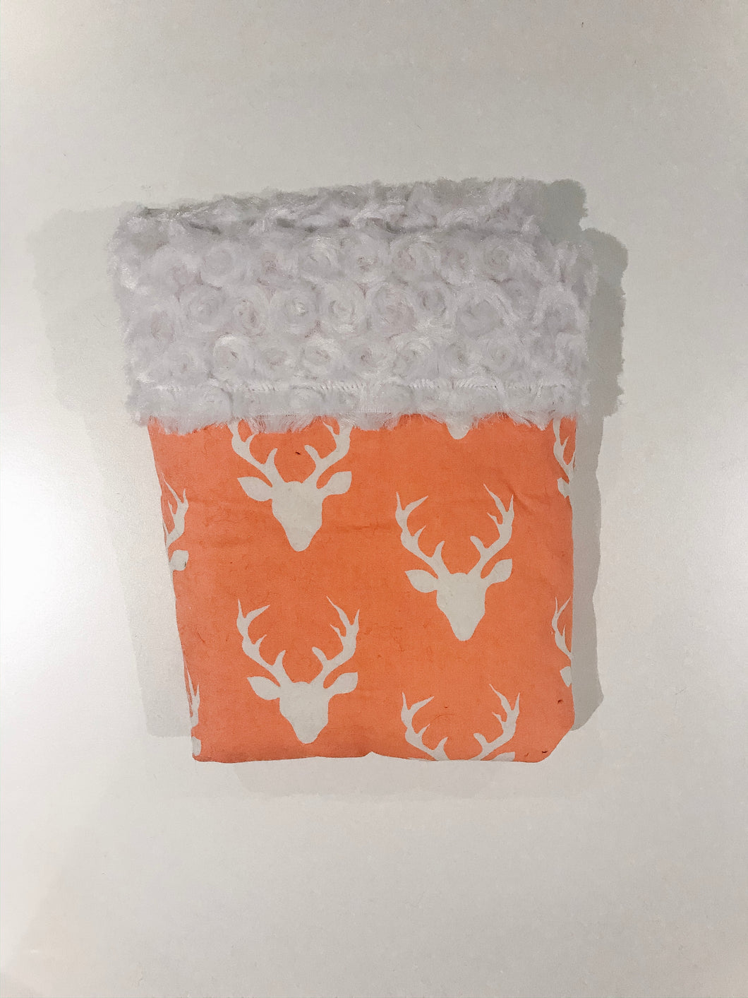 SALE - Peach Bucks Cotton & Minky Baby Blanket