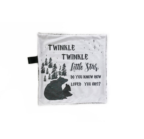 """Twinkle, Twinkle Little Star"" Monochrome Bear Minky Blanket - Small Lovey Size"