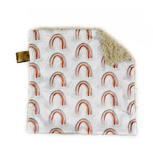 Load image into Gallery viewer, Neutral Watercolour Rainbows Minky Blanket - Small Square Lovey Size