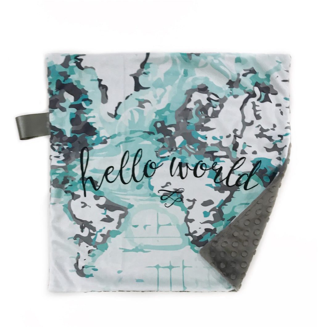 "Aqua ""Hello World"" Map Minky Blanket - Small Lovey Size"