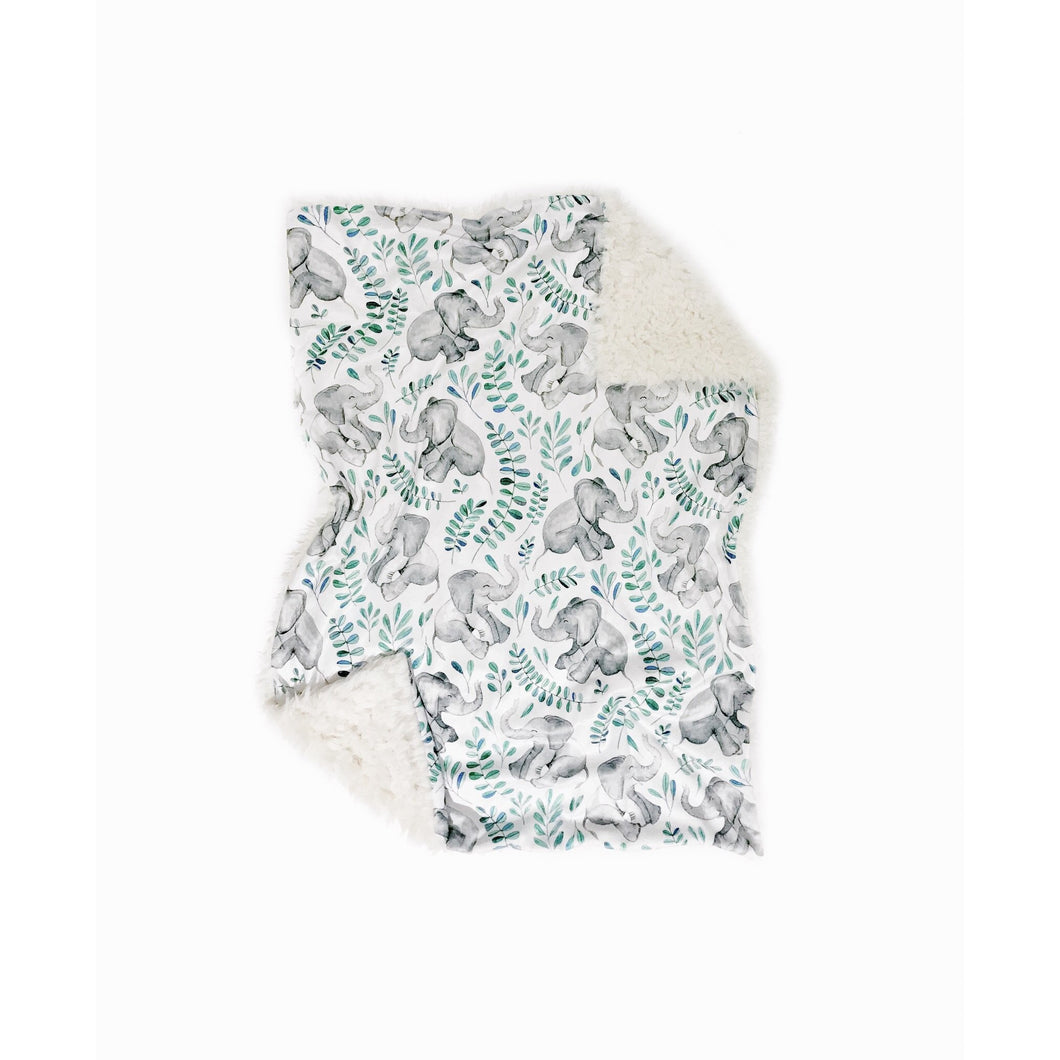 Watercolour Teal Elephant Minky Blanket - Baby Blanket Size