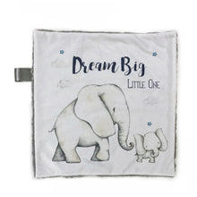 "Load image into Gallery viewer, ""Dream Big Little One"" Elephant Minky Blanket - Small Lovey Size"