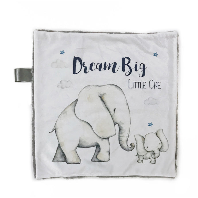 """Dream Big Little One"" Elephant Minky Blanket - Small Lovey Size"