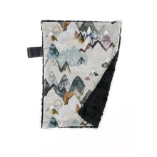 "Load image into Gallery viewer, Black + Tan ""Call of the Mountains"" Minky Blanket - Small Lovey Size"