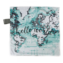 "Load image into Gallery viewer, Aqua ""Hello World"" Map Minky Blanket - Small Lovey Size"