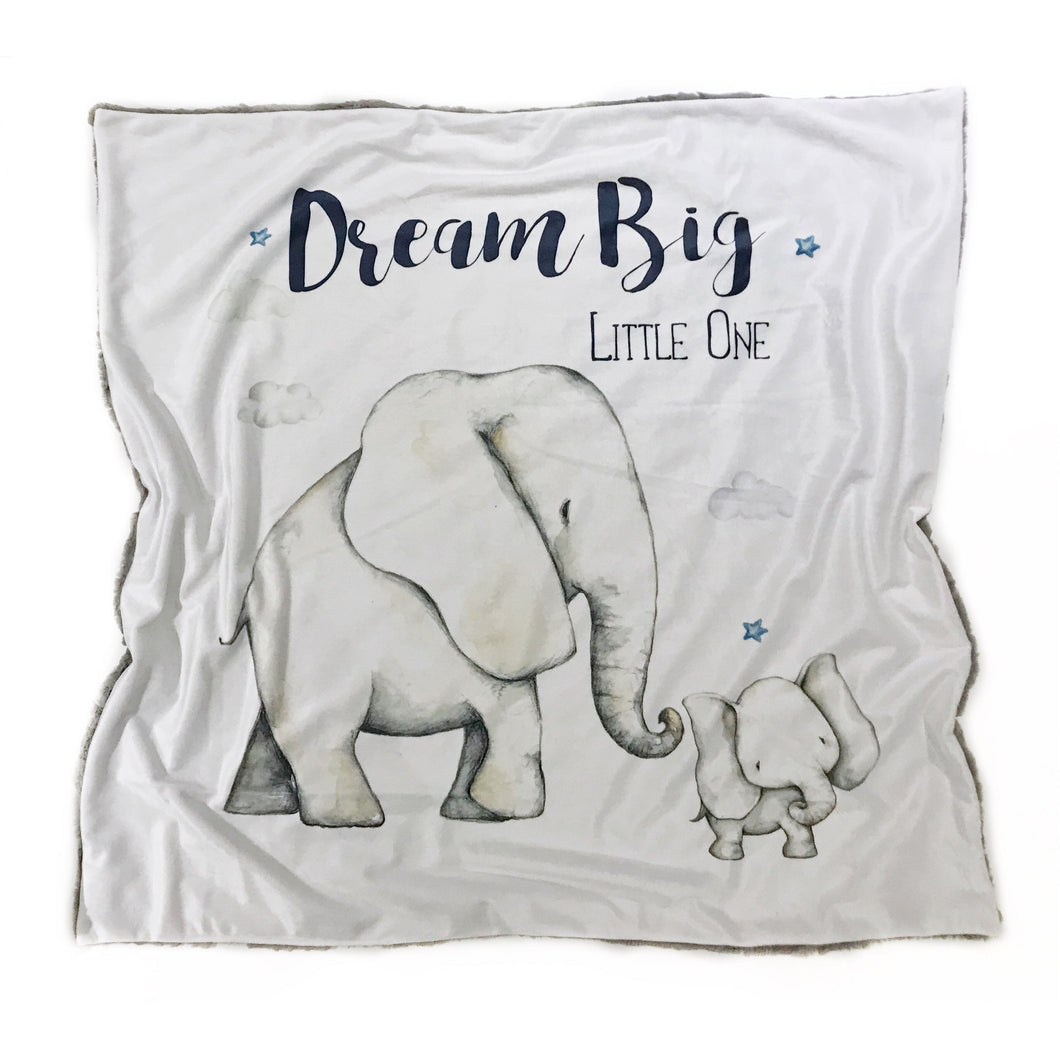 """Dream Big Little One"" Elephant Minky Blanket - Baby Blanket Size"