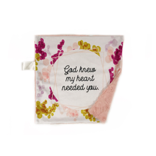 "Load image into Gallery viewer, Pink ""God Knew My Heart Needed You"" Minky Blanket - Small Lovey Size"
