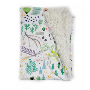 Watercolour Field Woodland Minky Blanket - Baby Blanket Size