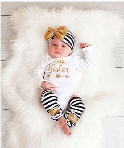 Little Sister Gold Stripe Set