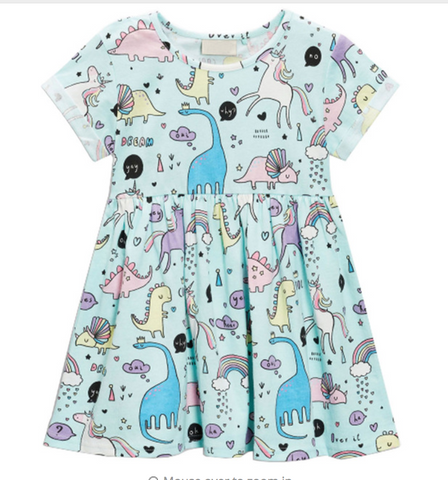 Dinos & Unicorns Flutter Dress