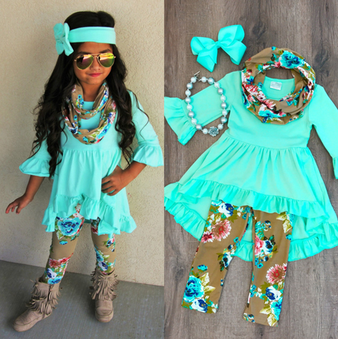 AQUA FLORAL RUFFLED 3PC SET