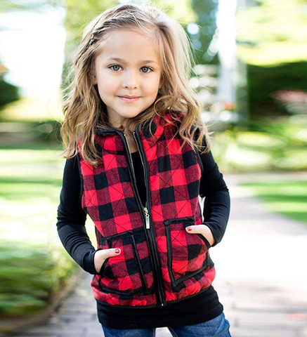 Quilted Buffalo Check Vest - Black + Red