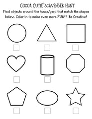 Cocoa Cutie Scavenger Hunt-Shapes and Color