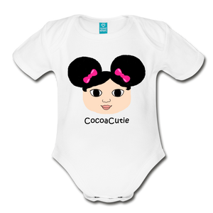 Afro Puffs and Pink Bows(Mackenzie) Cocoa Cutie Baby Organic Short Sleeve Bodysuit - white
