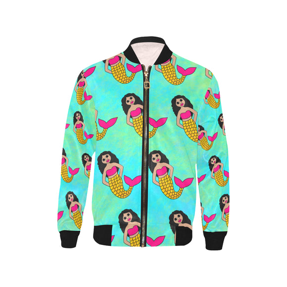 Be A Mermaid Kiara Kid's Cocoa Cutie Bomber Jacket