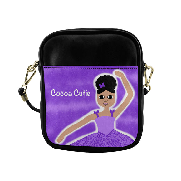 Purple Dancer in the Stars(Kiara) Cocoa Cutie Sling Crossbody Purse-Medium Light Skin Faux Leather