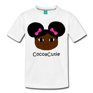 Afro Puffs and Pink Bows(Yanna) Cocoa Cutie Kid's Cotton Premium T-Shirt - white
