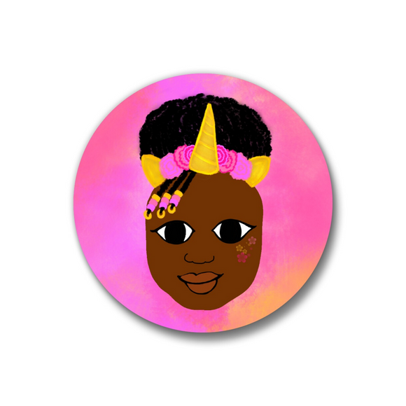 Unicorn Pin-Back Button-Dark Skin 1.25