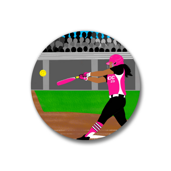 Softball Pink Pin-Back Button-Medium Dark Skin 1.25