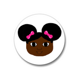 Afro Puffs and Pink Bows Pin-Back Button-Dark Skin 1.25""