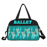 Teal Black Ballerina Dance Competition Ballet Duffel Bag