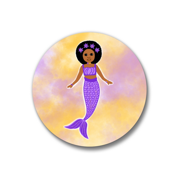 Mermaid Purple Pin-Back Button-Medium Dark Skin 1.25