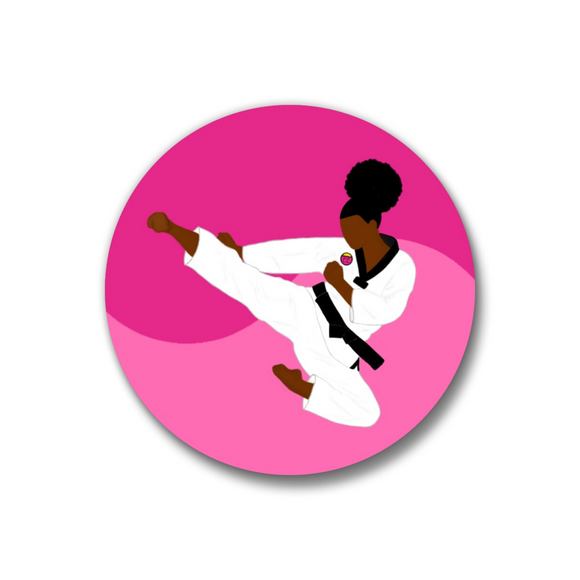 Taekwondo Pink Pin-Back Button-1.25