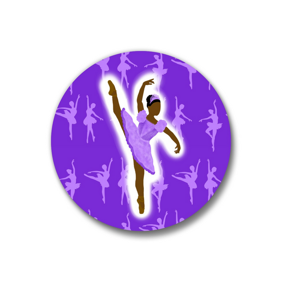 Ballerina Purple Pin-Back Button-Dark Skin 1.25