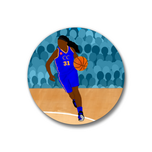 "Basketball Blue Pin-Back Button-Dark Skin-1.25"" Girl"