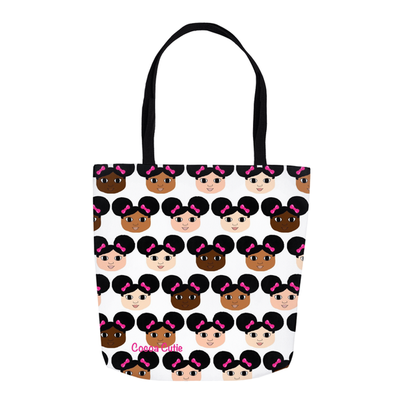 Afro Puffs and Pink Bows Cocoa Cuties Shoulder Tote Bags-All Skin Tones
