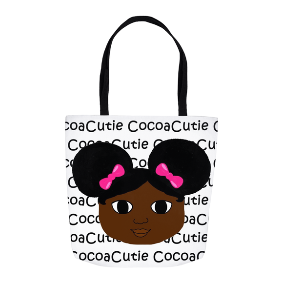 Afro Puffs and Pink Bows Cocoa Cutie(Yanna) Shoulder Tote Bags-Dark Skin
